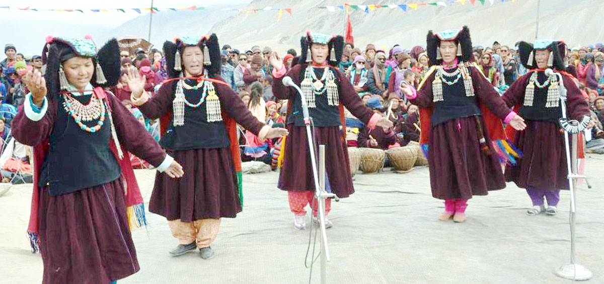 Artists presenting colourful cultural programme at Padum Zanskar on Monday.