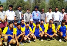 Winners posing along with dignitaries and officials during Khelo India Games at Ganderbal.