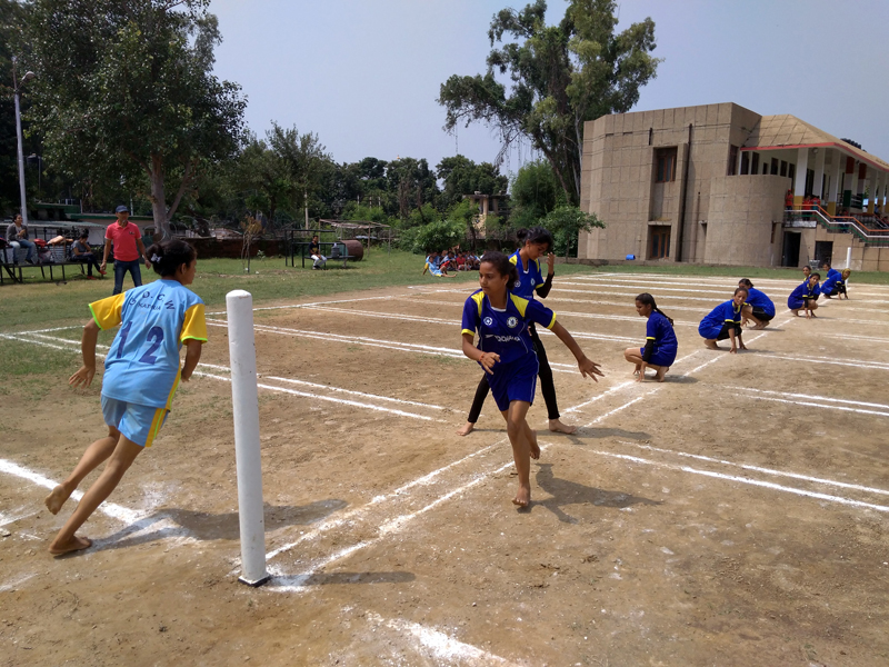 Kho-Kho players in action during Inter-Collegiate Tournament in Jammu.