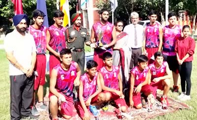 APS Ratnuchak Basketball team posing for a group photograph after emerging runners-up in Western Command Inter-APS C'ship.