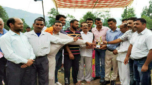Winners of Wrestling event being honoured by the dignitaries at Panchari in Udhampur.