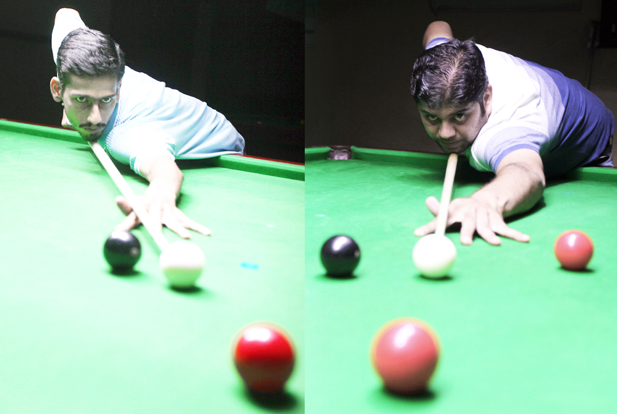 Cueists in action at Billiards Hall, MA Stadium in Jammu on Sunday. -Excelsior/ Rakesh