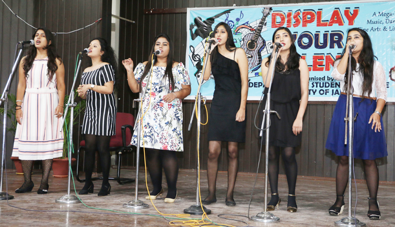 Students presenting singing item during 'Display Your Talent'.