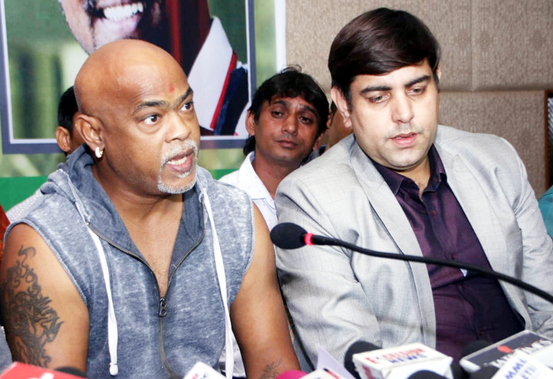 Former cricketer Vinod Kambli interacting with media persons at Jammu on Friday. —Excelsior/Rakesh