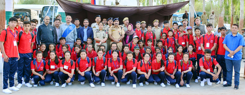 Ladakh students posing for a photograph before leaving for Bharat Darshan Tour. -Excelsior/Morup Stanzin