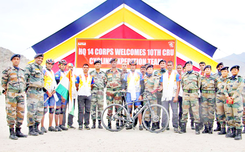 Participants of Expedition organised by Army being flagged-in on Thursday.