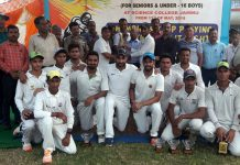 Jubilant KCCC players posing along with CEO JKCA Ashiq Hussain Bukhari and other dignitaries in Jammu on Thursday.