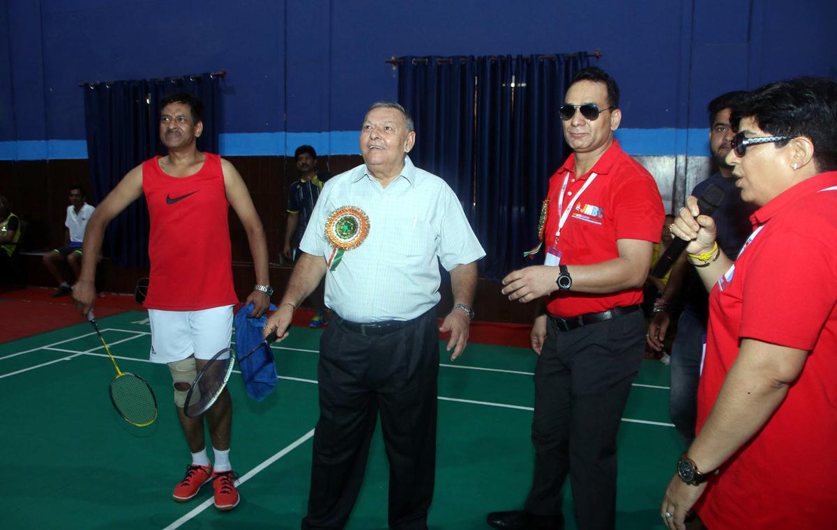 Dr OD Sharma and other dignitaries inaugurating Jammu Masters Badminton Championship in Jammu.