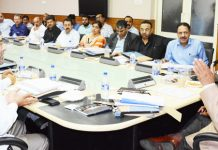 Advisor BB Vyas chairing SIDCO & SICOP Board of Directors meeting in Srinagar on Wednesday.