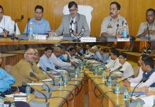 Advisor K Vijay Kumar chairing a meeting at Udhampur on Friday.