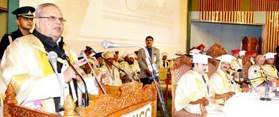 Governor S P Malik addressing convocation of NIT at SKICC in Srinagar on Monday.