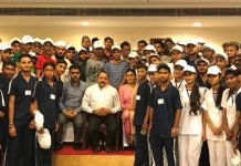 Union Minister Dr Jitendra Singh with students from Samba and Bandipora districts of J&K, at a luncheon hosted by him, at New Delhi on Friday.