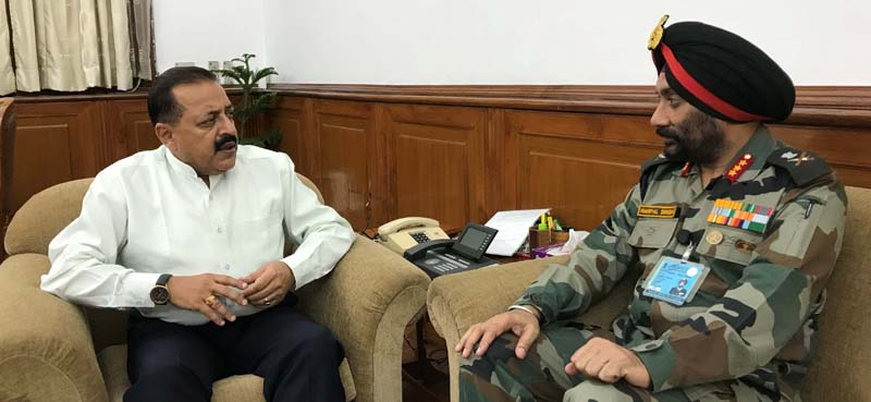 Union Minister Dr Jitendra Singh being briefed by Director General, Border Road Organization (BRO), Lt. Gen. Harpal Singh about various road projects in Kathua-Udhampur-Doda sector, on Friday.