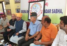 DSS president G S Charak addressing press conference in Jammu on Thursday.