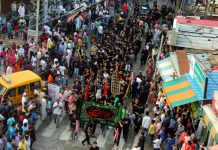 Grand Muharram procession being taken out in Jammu on Friday. -Excelsior/Rakesh