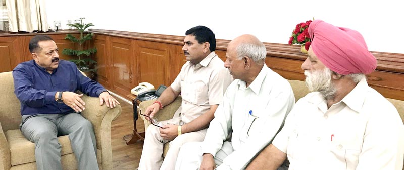 A delegation of West Pakistan Refugee Action Committee, led by its President Labha Ram Gandhi, holding a meeting with Union Minister Dr Jitendra Singh, at New Delhi on Tuesday.