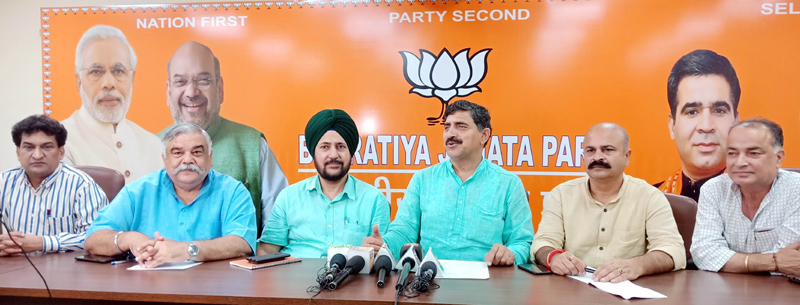 BJP leaders at a press conference at Jammu on Thursday.