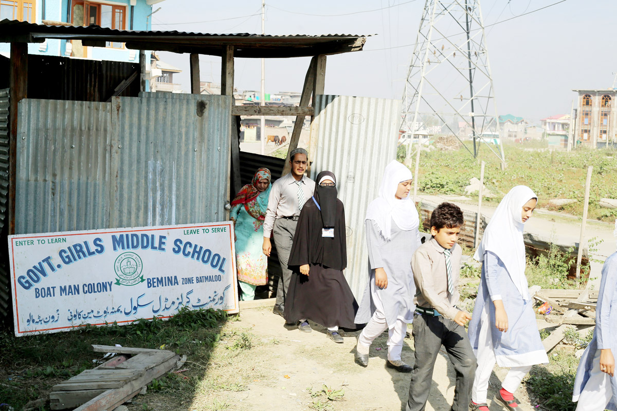 A Government School in Bemina which functions in a makeshift shed. -Excelsior/Shakeel