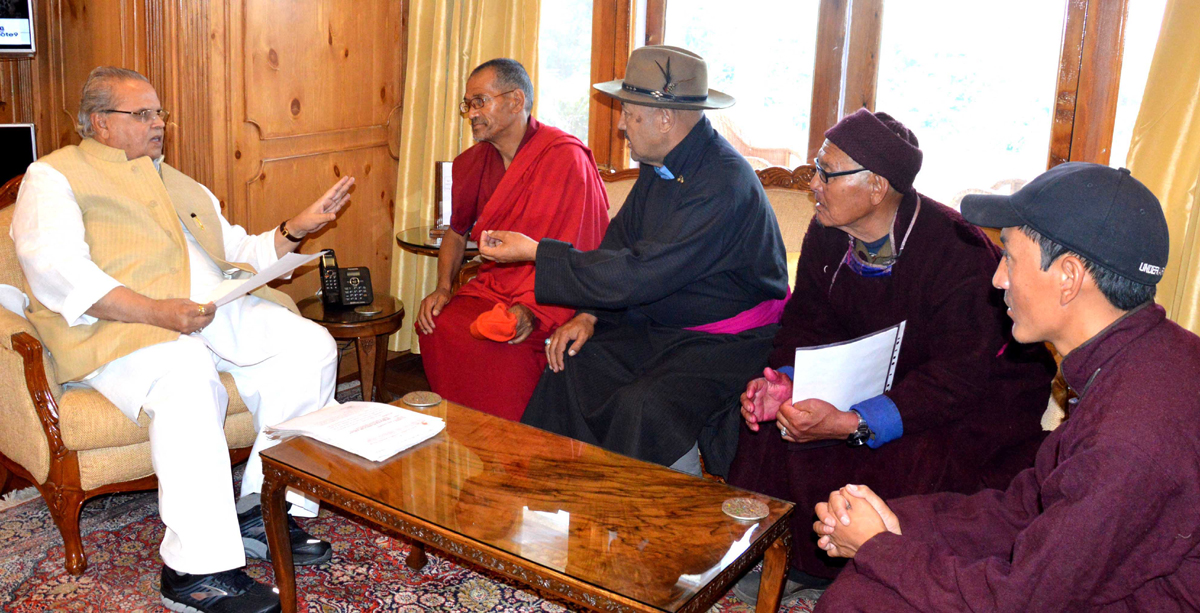 Governor S P Malik and LBA Zanskar delegation during a meeting on Sunday.