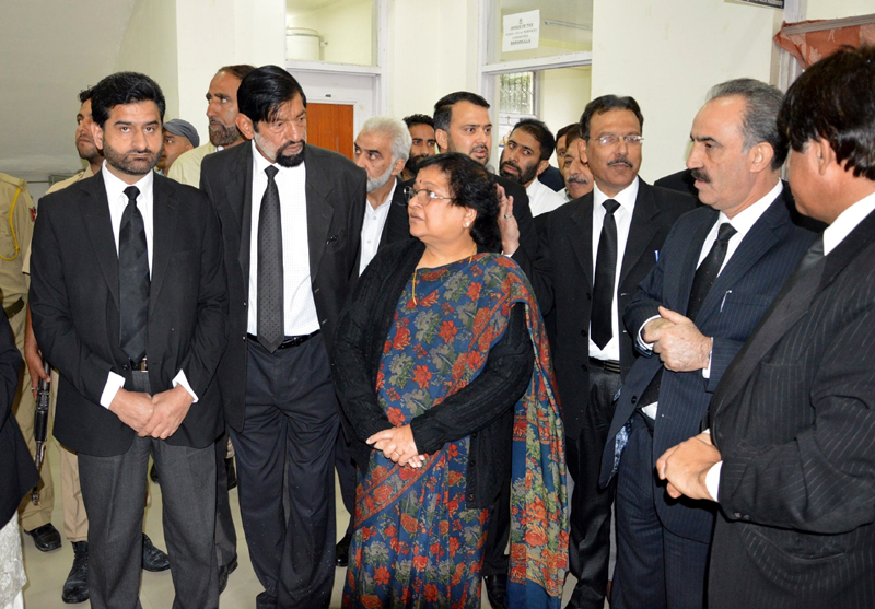Chief Justice Gita Mittal during her visit to district courts in Baramulla on Saturday.
