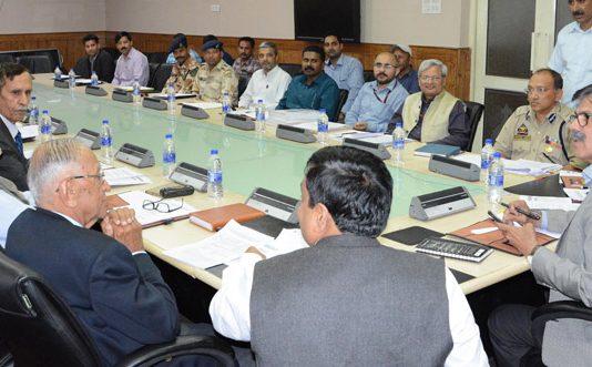 Advisor K Vijay Kumar chairing meeting of Standing Committee of State Board for Wildlife on Thursday.