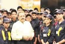 Union Minister Dr Jitendra Singh during an informal interaction with a group of students from Kishtwar, at a get-together hosted by him, at New Delhi on Friday.