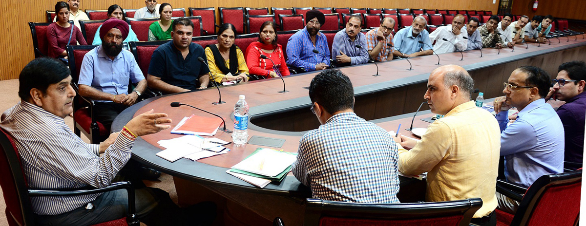 Advisor B B Vyas interacting with a delegation in Jammu on Saturday.