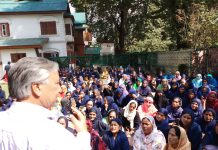 MLA Kulgam, Mohd Yousuf Tarigami, addressing a convention of ASHA workers at Srinagar.