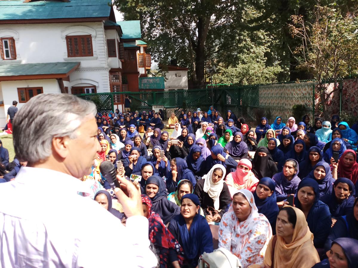 MLA Kulgam, Mohd Yousuf Tarigami, addressing a convention of ASHA workers at Srinagar.