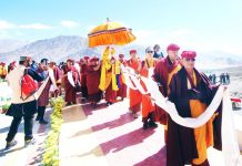 Holy relics of Naropa being brought to the Naro Photang in Ladakh.