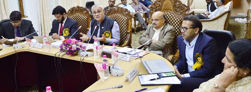 Union Housing Secretary and Chief Secretary chairing a meeting at Srinagar on Saturday.