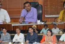 DC Ramesh Kumar chairing a meeting in Jammu on Thursday.