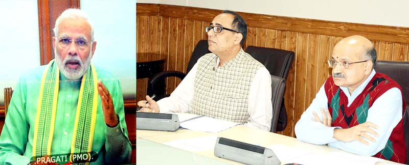 PM Narendra Modi during video conferencing with J&K CS on Wednesday.