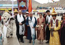 Secretary Tourism, Rigzin Samphel participating in the inaugural ceremony of Ladakh Festival in Leh on Saturday.