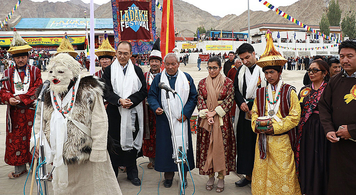 Secretary Tourism, Rigzin Samphel participating in the inaugural ceremony of Ladakh Festival in Leh on Saturday.