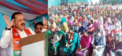 Union Minister, Dr Jitendra Singh addressing a party meeting attended by BJP candidates contesting elections for Kathua, Lakhanpur and Nagri Municipal bodies at Kathua on Sunday. — Excelsior/Pardeep