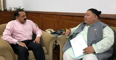 Nagaland Higher Education Minister, Temjen Imna Along calling on Union Minister Dr Jitendra Singh, at New Delhi on Tuesday.