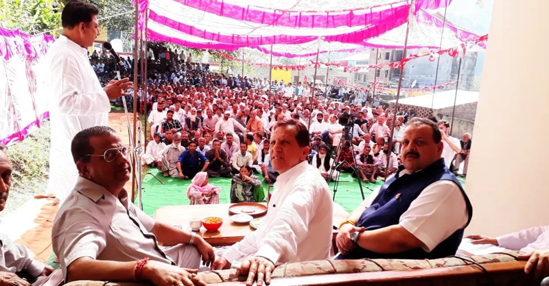NC leaders at workers meeting at Bani on Thursday.