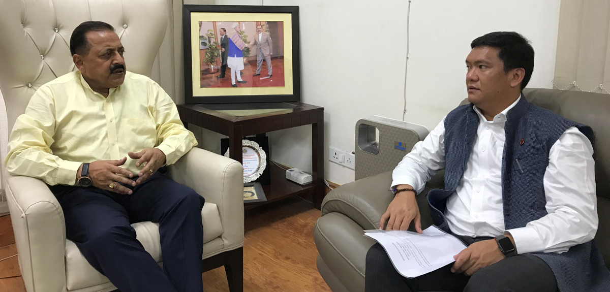 Chief Minister of Arunachal Pradesh, Pema Khandu calling on Union Minister Dr Jitendra Singh on Thursday at New Delhi.