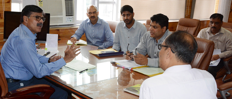Advisor K Vijay Kumar chairing a meeting on Friday.