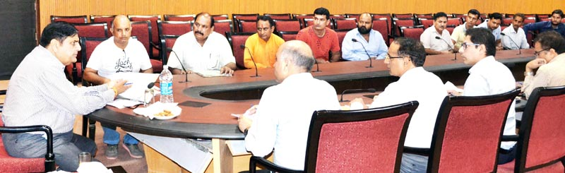 Advisor B B Vyas interacting with a delegation on Friday.