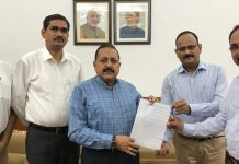 Union Minister Dr Jitendra Singh receiving a memorandum from a delegation of UP State / Provincial Civil Services Officers, at New Delhi on Wednesday.
