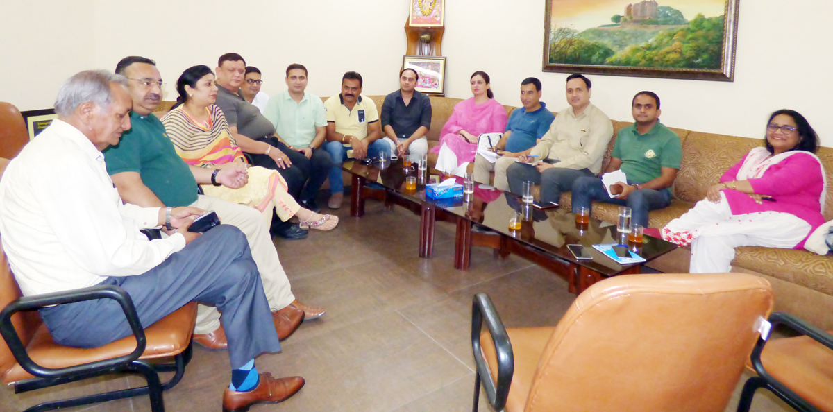 DTE, Anoo Malhotra during a meeting with industry representatives in Jammu.