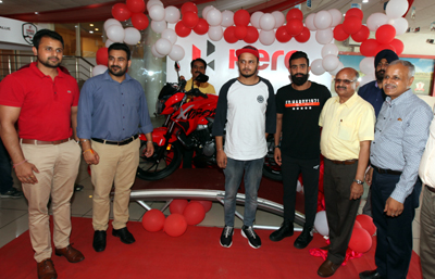 Asiad Bronze Medalist Surya Bhanu Pratap Singh and officials of Jainco Hero launching 'Xtreme 200R' on Tuesday. —Excelsior/Rakesh