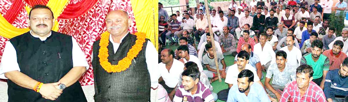 NC Provincial President Devender Singh Rana interacting with people in Dansal area on Sunday.