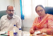 Raiz Ahmed, Secretary JKBOSE, during a meeting with Board officers in Jammu.