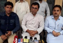 MLC Firdous Tak addressing a press conference at Kishtwar on Saturday.