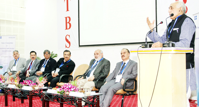 Chairman NAAC addressing a convention of Vice-Chancellors at JU on Wednesday.