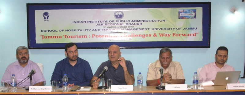 Former Secretary, Union Ministry of Tourism, Parvez Dewan and other dignitaries during a seminar in Jammu.