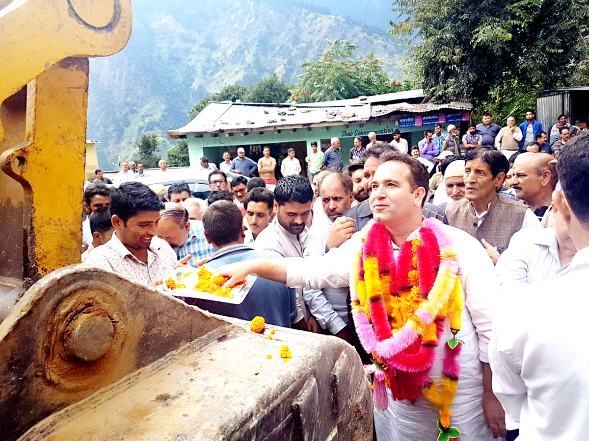 MLA Kishtwar Sunil Kumar Sharma launching construction work of link road.